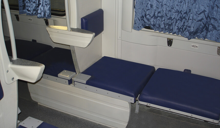The interior of couchette car