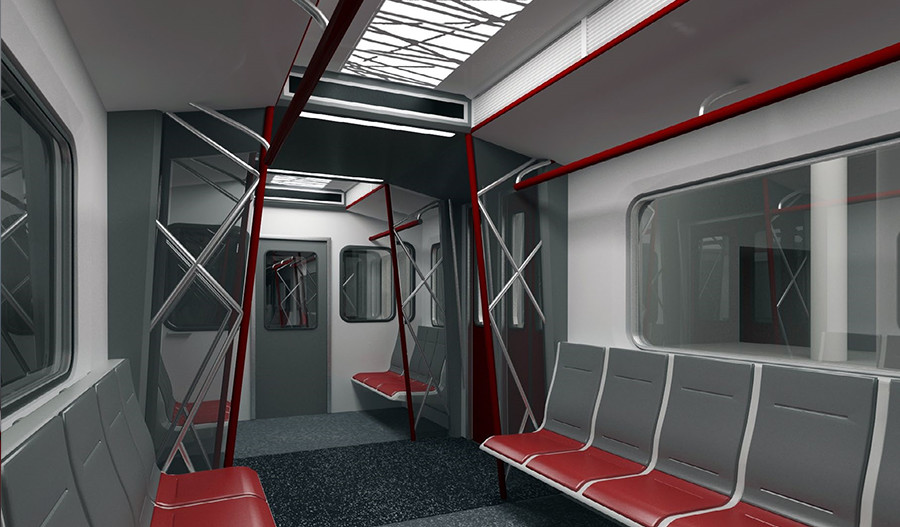 Интерьер салона вагонов метро типа ЕЖ